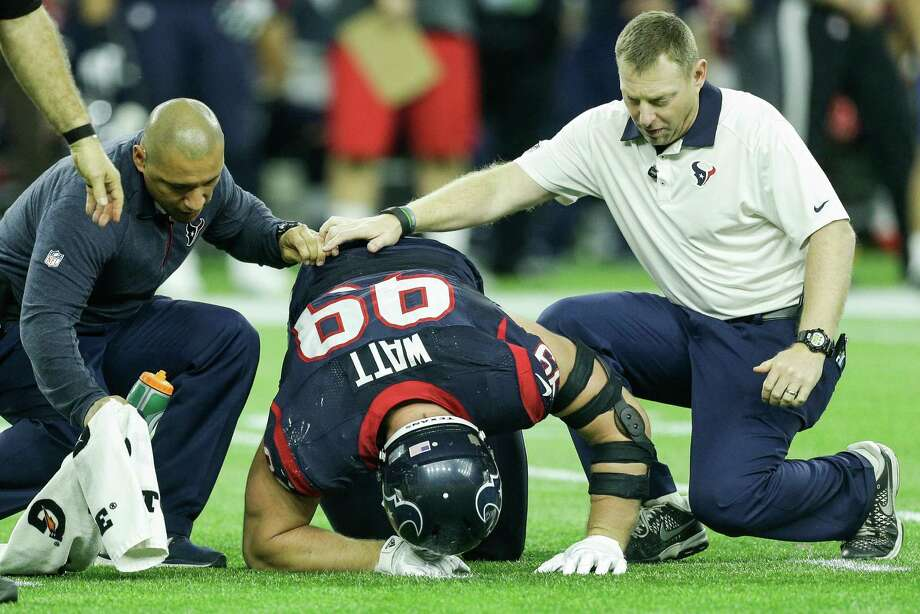 When last seen on the field, J.J. Watt literally was on the field after suffering a groin injury that knocked him out of the wild-card game against the Chiefs. Photo: Brett Coomer, Staff / © 2016 Houston Chronicle