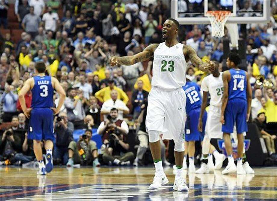 Oregon forward Elgin Cook celebrates after their win against Duke during an NCAA college basketball game in the regional semifinals of the NCAA Tournament, Thursday, March 24, 2016, in Anaheim, Calif. (AP Photo/Mark J. Terrill) Photo: Mark J. Terrill