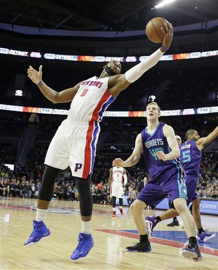 Detroit Pistons center Andre Drummond (0) reaches for an inbound pass in front of Charlotte Hornets center Cody Zeller (40) during the first half of an NBA basketball game, Friday, March 25, 2016, in Auburn Hills, Mich. (AP Photo/Carlos Osorio) Photo: Carlos Osorio