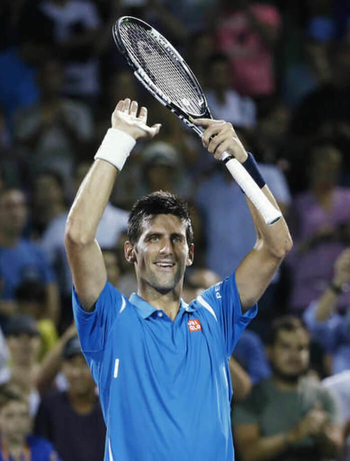 Novak Djokovic, of Serbia, celebrates after defeating Kyle Edmund, of Britain, in a match at the Miami Open tennis tournament, in Key Biscayne, Fla., Friday, March 25, 2016. (AP Photo/Wilfredo Lee) Photo: Wilfredo Lee