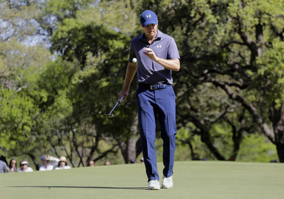 Jordan Spieth reacts after missing a putt on the sixth green during round-robin play against Justin Thomas at the Dell Match Play Championship golf tournament at Austin County Club, Friday, March 25, 2016, in Austin, Texas. (AP Photo/Eric Gay) Photo: Eric Gay