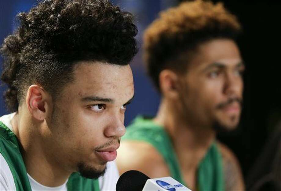 Oregon forward Dillon Brooks, left, speaks during a news conference alongside teammate guard Tyler Dorsey before an upcoming regional finals basketball game in the NCAA Tournament, Friday, March 25, 2016, in Anaheim, Calif. Oregon faces Oklahoma in an Elite Eight matchup March 26. (AP Photo/Gregory Bull) Photo: Gregory Bull