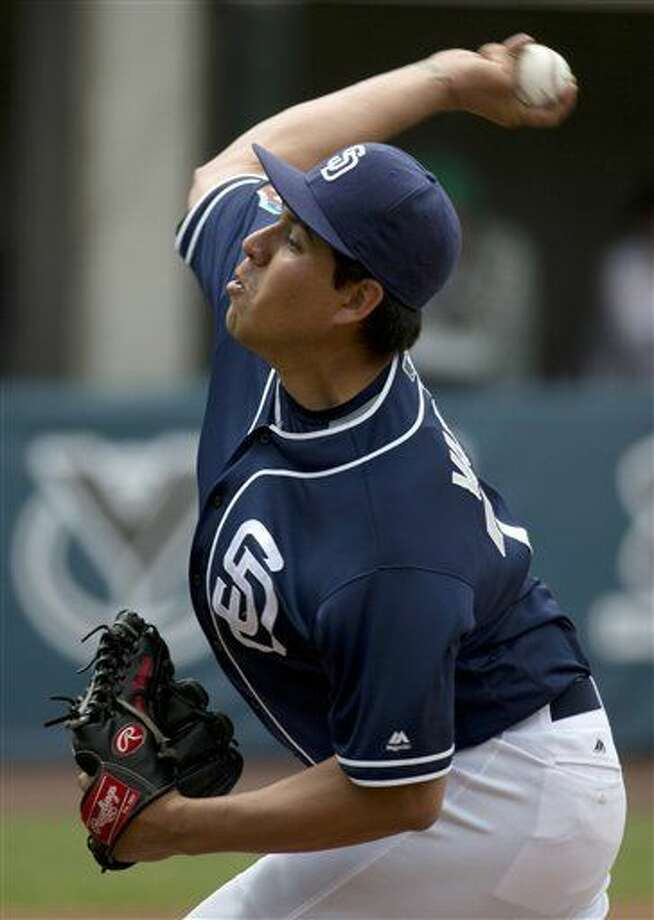 San Diego Padres' Cesar Vargas pitches against the Houston Astros in the second inning of a spring training baseball game in Mexico City, Sunday, March 27, 2016. (AP Photo/Eduardo Verdugo) Photo: Eduardo Verdugo