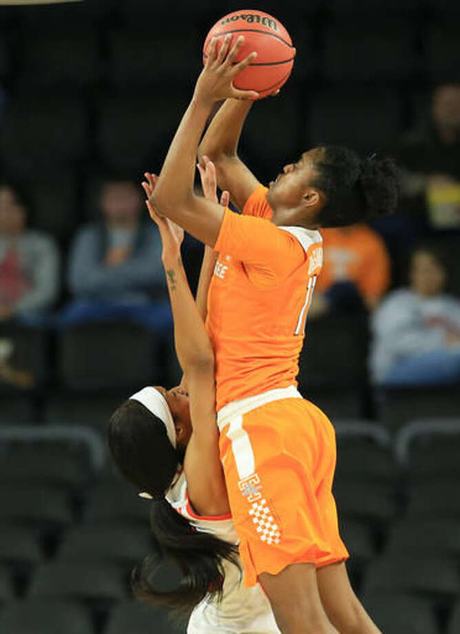 Tennessee's Diamond DeShields (11) shoots over Syracuse's Briana Day (50) during a women's college basketball regional final in the NCAA Tournament in Sioux Falls, S.D., Sunday, March 27, 2016. (AP Photo/Nati Harnik) Photo: Nati Harnik