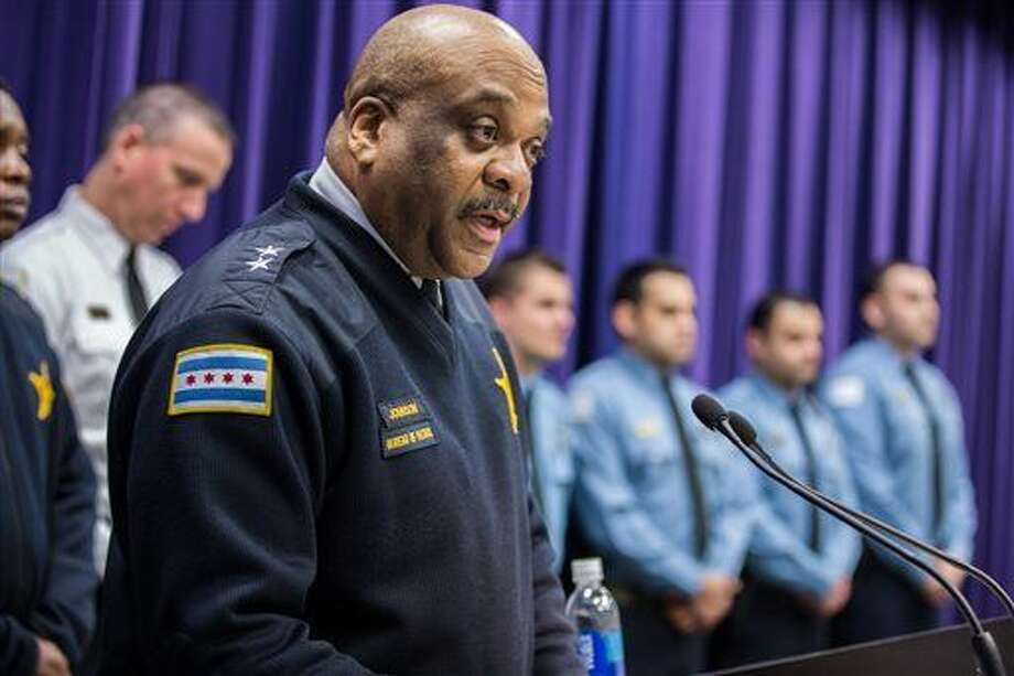 In this March 23, 2016 photo, Chicago Police Department Chief of Patrol Eddie Johnson speaks during a news conference at the Public Safety Headquarters in Chicago. Alderman Anthony Beale said the mayor's office called him Saturday, March 26, 2016, to inform him that Mayor Rahm Emanuel has selected Johnson as interim police superintendent. (Zbigniew Bzdak/Chicago Tribune via AP) MANDATORY CREDIT CHICAGO TRIBUNE; CHICAGO SUN-TIMES OUT; DAILY HERALD OUT; NORTHWEST HERALD OUT; THE HERALD-NEWS OUT; DAILY CHRONICLE OUT; THE TIMES OF NORTHWEST INDIANA OUT; TV OUT; MAGS OUT; NO SALES