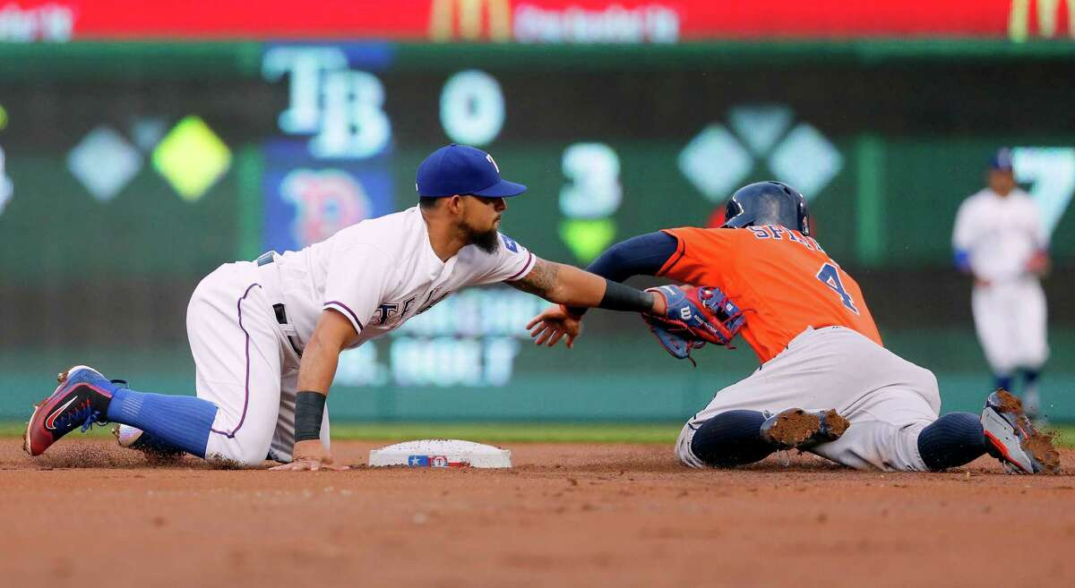 Rangers second baseman Rougned Odor completes a double play by tagging out George Springer on an attempted steal after Tyler White struck out in the first inning.