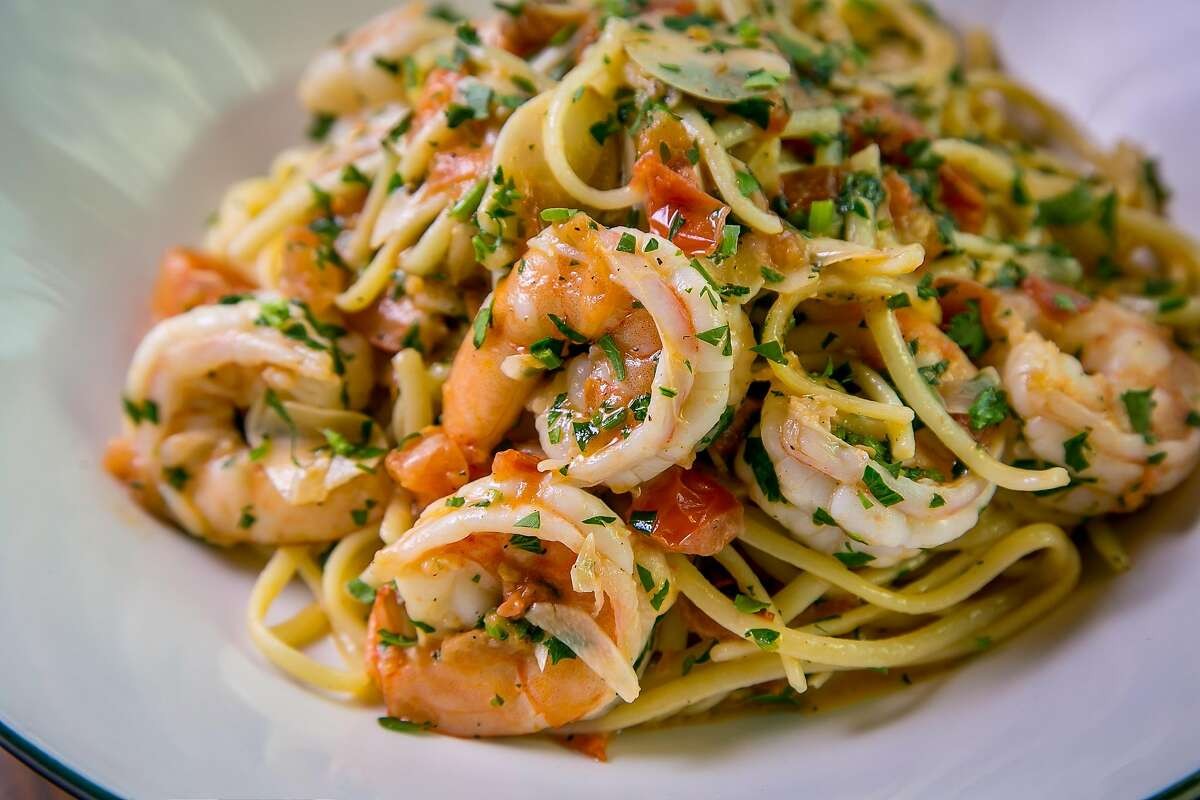 Shrimp Scampi with Linguine at Original Joes of Westlake in Daly City, Calif., is seen on April 20th, 2016.