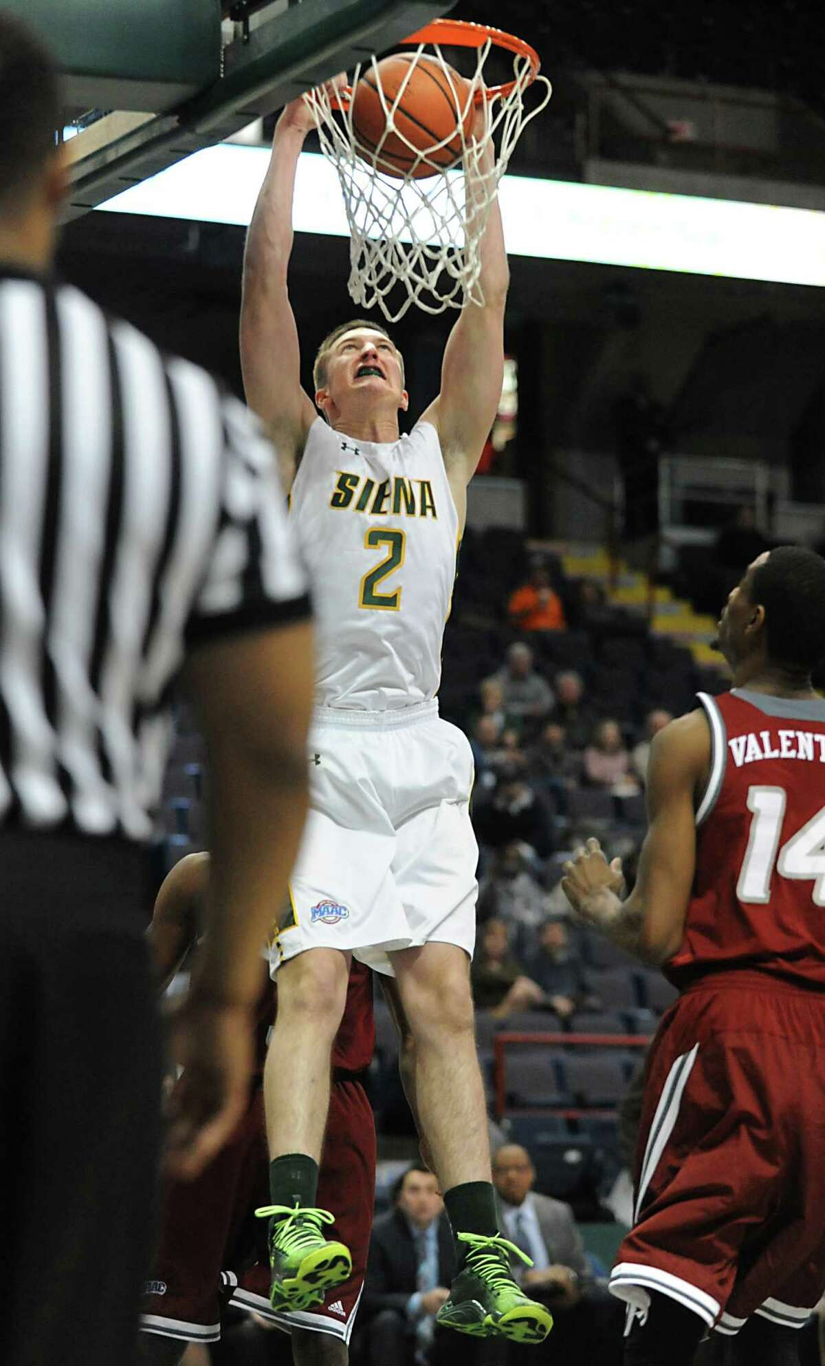 Siena's Willem Brandwijk dunks the ball during a basketball game against Rider at the Times Union Center Monday, Feb. 2, 2015 in Albany, N.Y. (Lori Van Buren / Times Union)