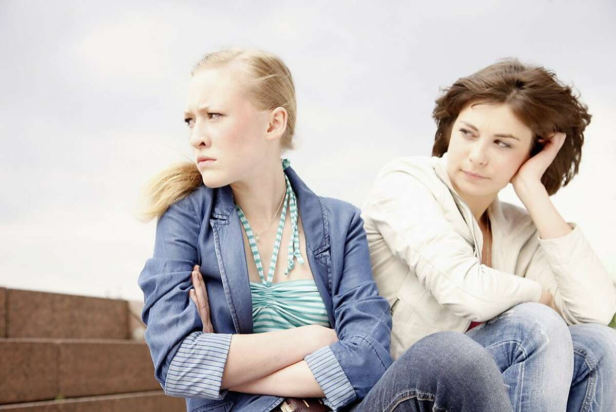 Two girl friends have stopped talking over different politics.