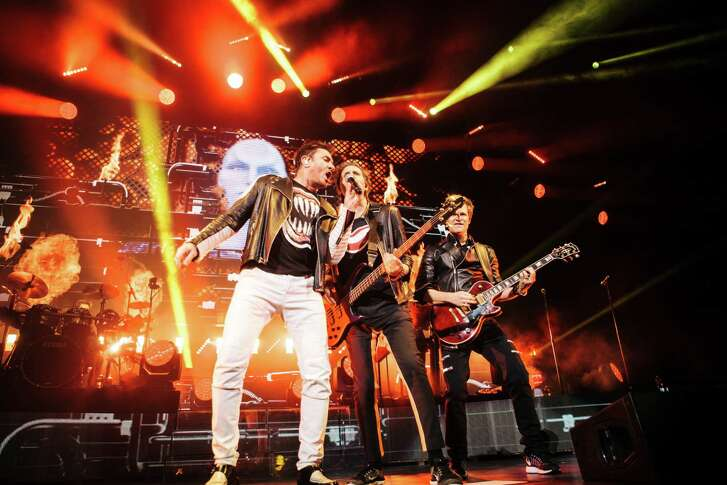"""Duran Duran band members Simon Le Bon, from left, John Taylor and Dominic Brown are touring in support of new album """"Paper Gods."""" The band will perform Saturday in The Woodlands."""