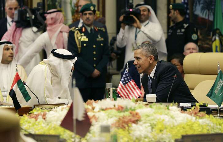 President Barack Obama, seated right, speaks with Abu Dhabi�s Crown Prince Sheikh Mohamed bin Zayed Al Nahyan, during a Gulf Cooperation Council session during the Gulf Cooperation Council Summit in Riyadh, Saudi Arabia, Thursday, April 21, 2016. The president is on a weeklong trip to strategize with his counterparts in Saudi Arabia, England and Germany on a broad range of issues with efforts to rein in the Islamic State group being the common denominator in all three stops. (AP Photo/Carolyn Kaster)