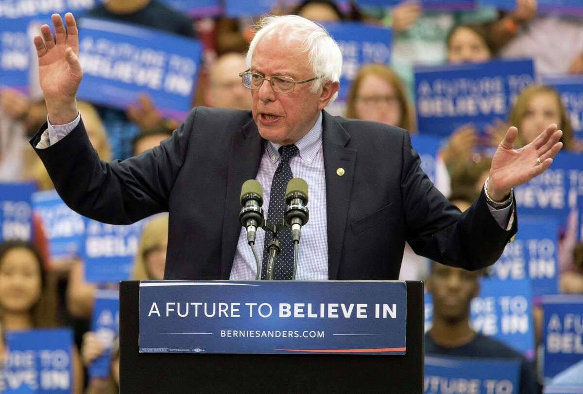 Democratic presidential candidate Sen. Bernie Sanders, I-Vt., speaks during a campaign rally at Penn State University, Tuesday, April 19, 2016 in State College, Pa. (AP Photo/Mary Altaffer) ORG XMIT: PAMA133