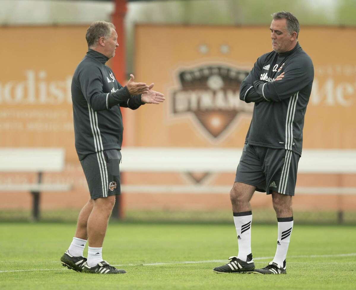 Houston Dynamo head coach Owen Coyle (right) is hard-pressed to explain his team's early struggles this season. (Bob Levey/ For The Houston Chronicle)