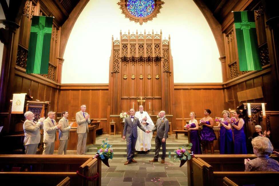 Robert LaRocca and Christopher Rambo, at the First Reformed Church of Schenectady, at their October 12, 2014 nuptials. (Jeff Foley Photography)