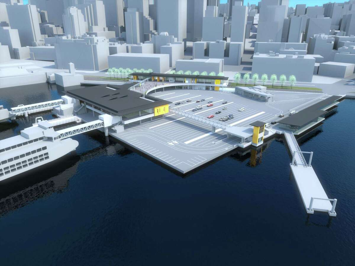 This rendering shows what the new Colman Dock may look like, as seen from the southwest, showing a redesigned holding area and a new terminal and loading area for the King County Water Taxi.
