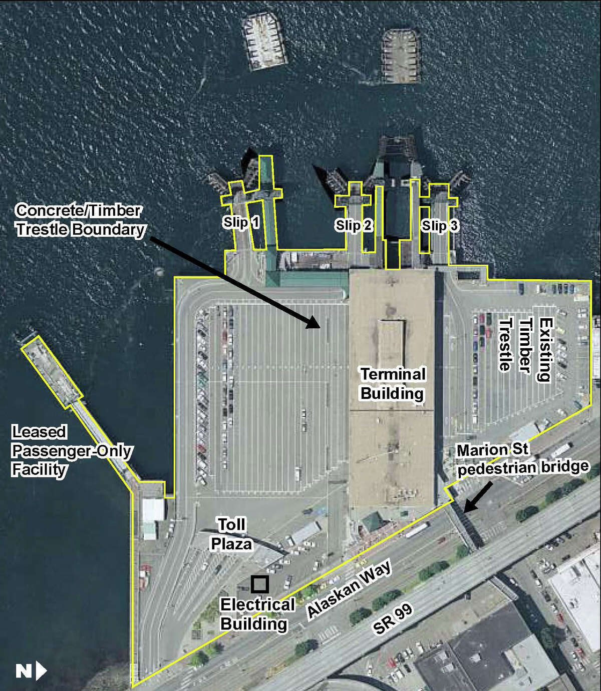 This overhead photo shows the current Colman Dock with its various parts labeled. Much of this will change with the new design.