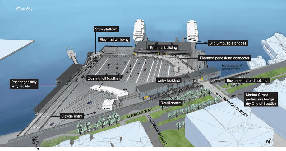 This rendering shows what the renovated Colman Dock should look like, as seen from the east, with a reconfigured holding area as well as new open shoreline to the north and moved terminal building. Photo: Courtesy Washington State Ferries / 2016 WSF