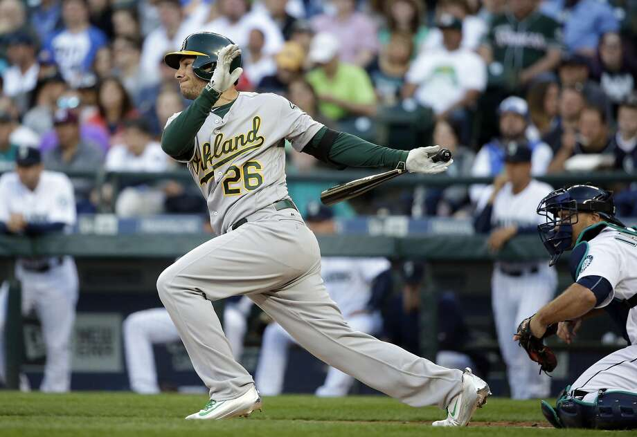 Oakland Athletics' Danny Valencia in action against the Seattle Mariners in a baseball game Saturday, April 9, 2016, in Seattle. (AP Photo/Elaine Thompson) Photo: Elaine Thompson, AP
