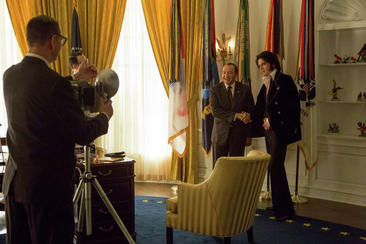 In this image released by the Tribeca Film Festival, Michael Shannon portrays Elvis Presley, right, and Kevin Spacey portrays President Richard Nixon in a scene from