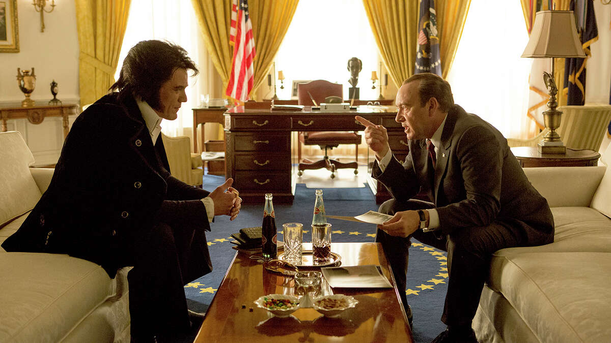 In this image released by the Tribeca Film Festival, Michael Shannon portrays Elvis Presley, left, and Kevin Spacey portrays President Richard Nixon in a scene from