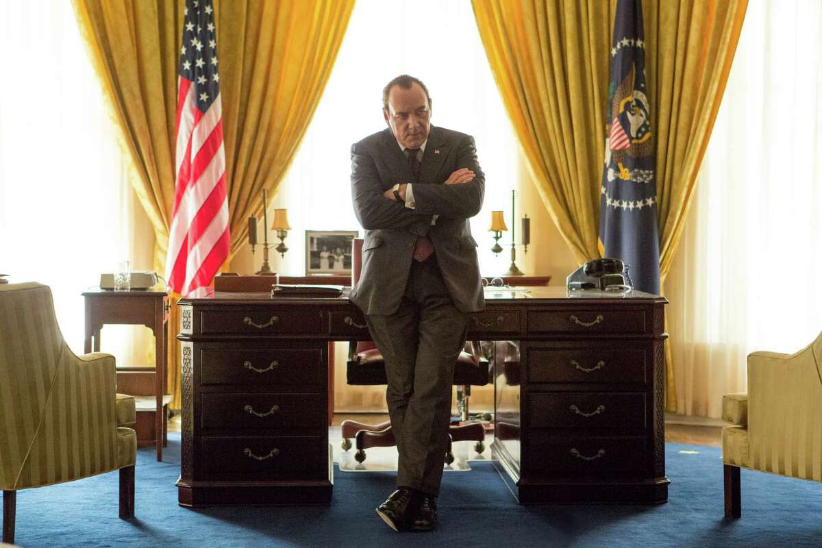 In this image released by Bleecker Stress, Kevin Spacey portrays President Richard Nixon in a scene from