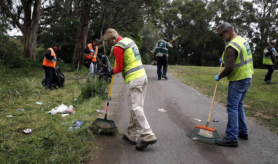 San Francisco Recreation and Park employees clean up after the 4/20 celebration in Golden Gate Park in San Francisco, California, on Thursday, April 21, 2016. Photo: Connor Radnovich, The Chronicle