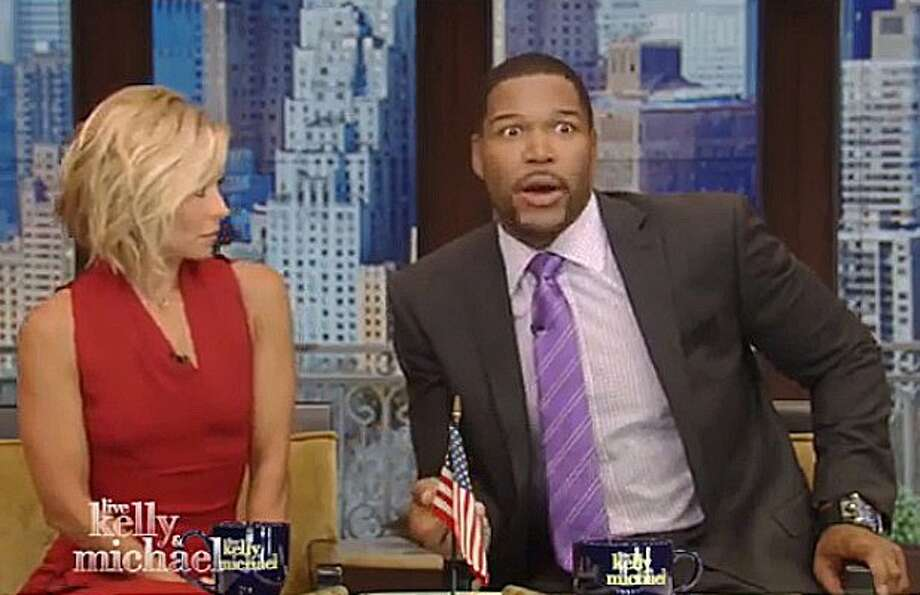 "Kelly Ripa and Michael Strahan from ""Live! With Kelly & Michael."""