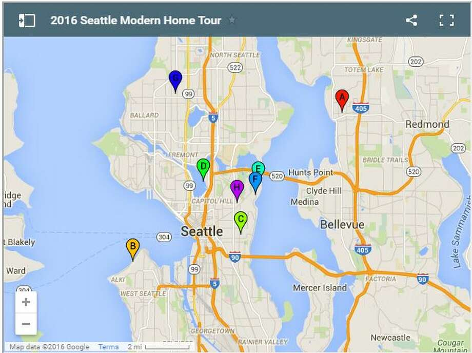 The location of each home on this year's tour. Photo: Seattle Modern Home Tour/Google Maps