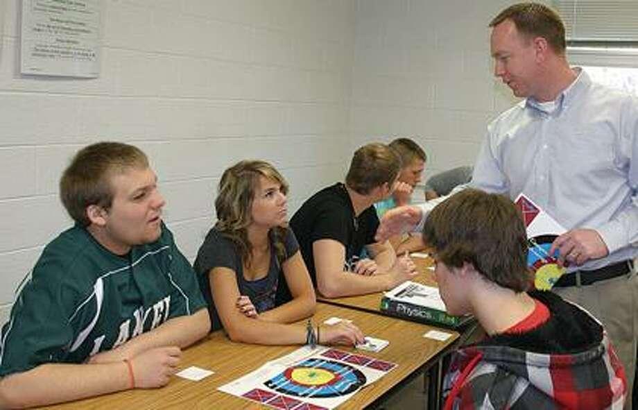 Matt Esch talks with Laker High School students.