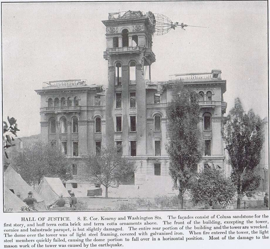 "Hall of Justice, southeast corner of Kearny and Washington Streets. The facades consist of Colusa sandstone for the first story, and terra cotta above. The front of the building, except for the tower and parapet, were slightly damaged. Most of the damage from the mason work was caused by the earthquake... ""The San Francisco Earthquake and Fire 1906"" by The Roebling Construction Company. From the collection of Bob Bragman"