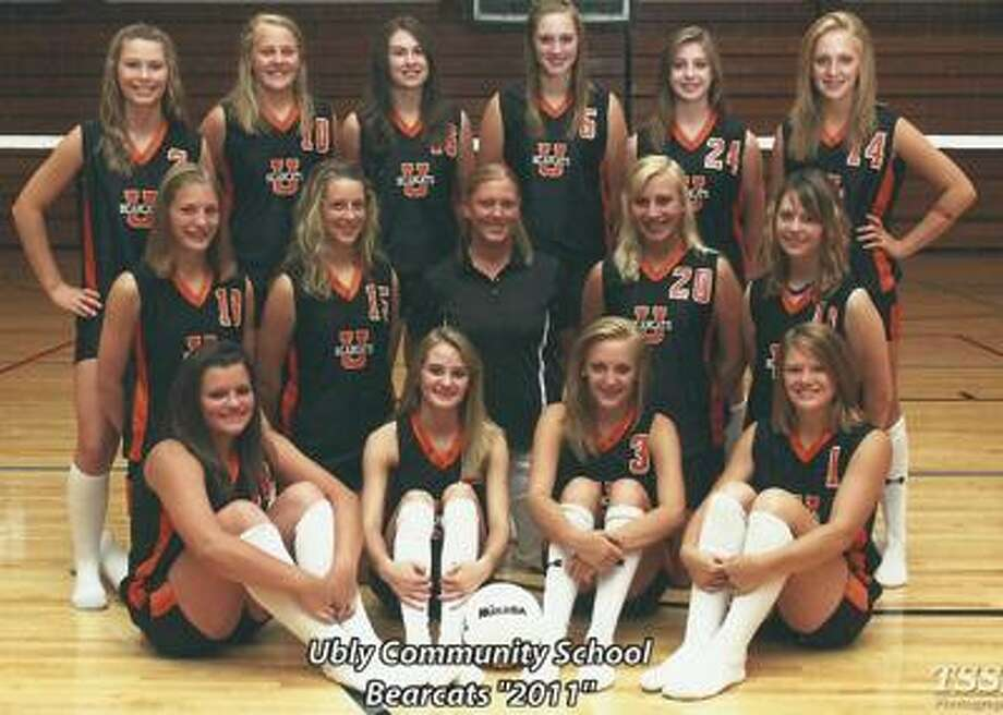 Team members include (front row from left) Jenna White, Hanna Drake, Marisa Guza, Lindsey Briolat, (middle row) Heather Gentner, Kady Osentoski, coach Pam Klee, Bailey Peruski, Courtney Cook, (back row) Danielle Pionk, Kari White, Shelby Schumacher, Shanae Woolner, Kassidy Swanson and Michela Guza.