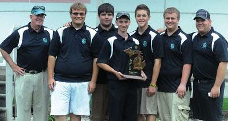 The EPBP golf team poses with the Division 4 district championship trophy, Wednesday at Verona Hills.