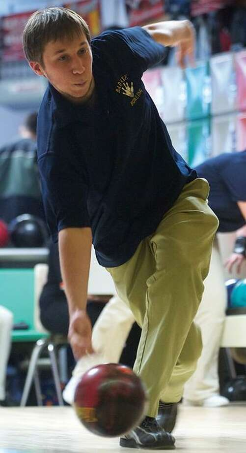 Bad Axe's Cody Chumbler releases the ball during a match with Ubly last week at Ubly Lanes.For more sports photos, go to www.michigansthumb.com, staff photos and click on the sports gallery.