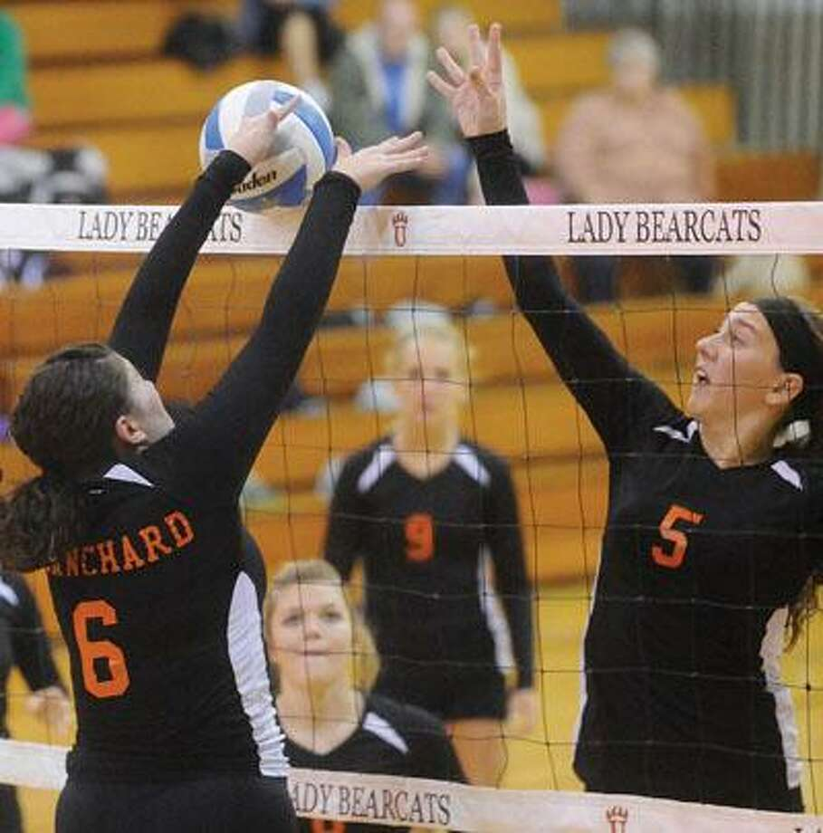 Harbor Beach's Brooke Blanchard (6) blocks the shot of Ubly's Madison Glaza (5) during Game 2, Tuesday in Ubly.