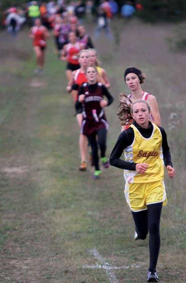 Deckerville's Kendra Colesa leads the pack on Saturday at the Ubly Cross Country Invitational.