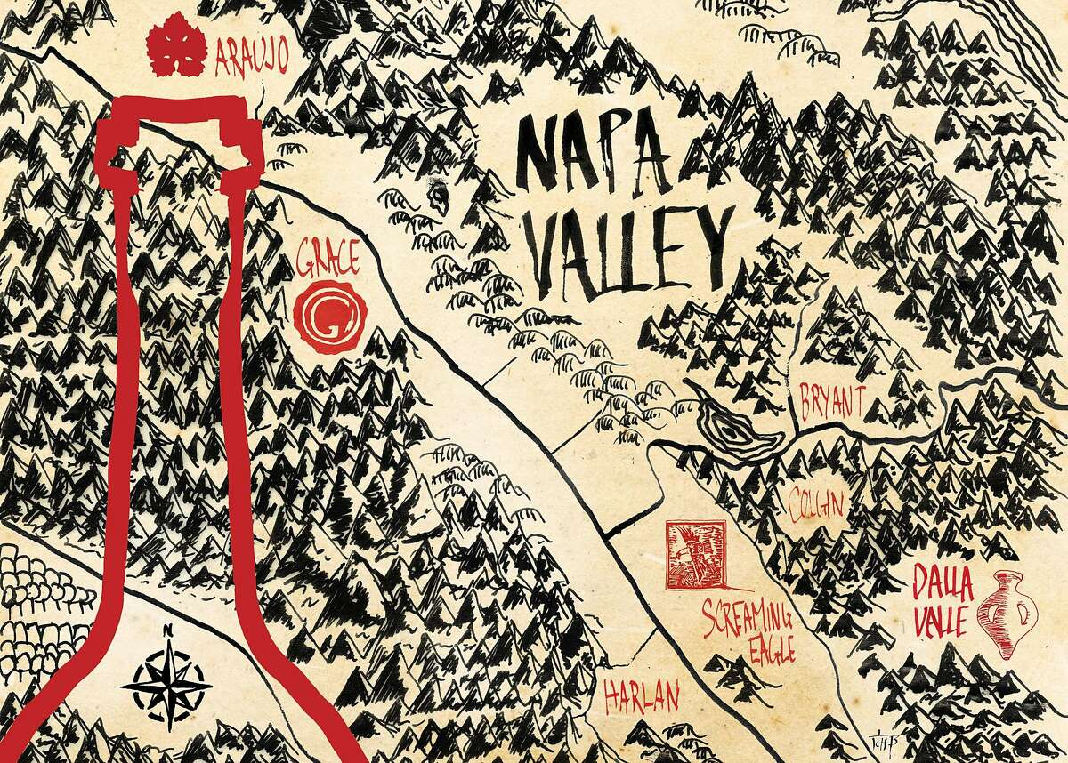Chronicle wine writer Esther Mobley ventures deep into Napa Valley to uncover, and examine, the aura around cult Cabernets. Illustration by Christopher T. Fong / The Chronicle