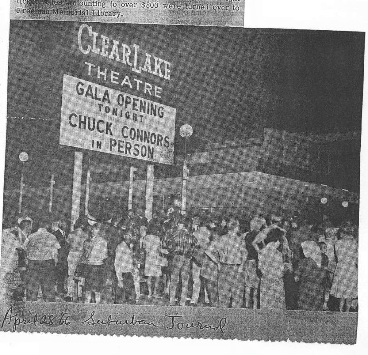 The scene at the opening of the Clear Lake Theatre where the time capsule was placed.