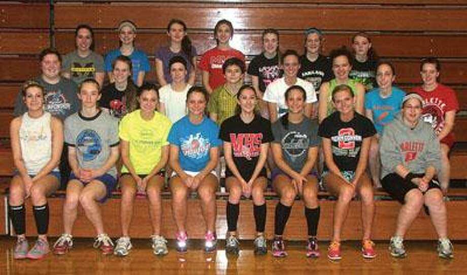 The 2013 Marlette varsity girls track team includes front row left to right Belle McCanham, Ashley Carlton, Rachel Wilcox, Tori Mock, Stacey Lane, Keara Wilson, Kristen Rienstra and Emily Nichols. Middle row: Jasmine McClatchie, Victoria Howe, Angel Garant, Becky Taylor, MacKenzie Kelly, Alicia Russell, Chari Blatt and Jennfier Gomes. Back row: Sammi Sisson, Haley Cross, Kirsten Brydon, Abby Morrison, Breanna Cooper, Caitlin Ellis, and Carly Laursen. The team is coached by Cathy Storm. Missing are Jenna Hirsch, Paula Cumper and Lori Silance.
