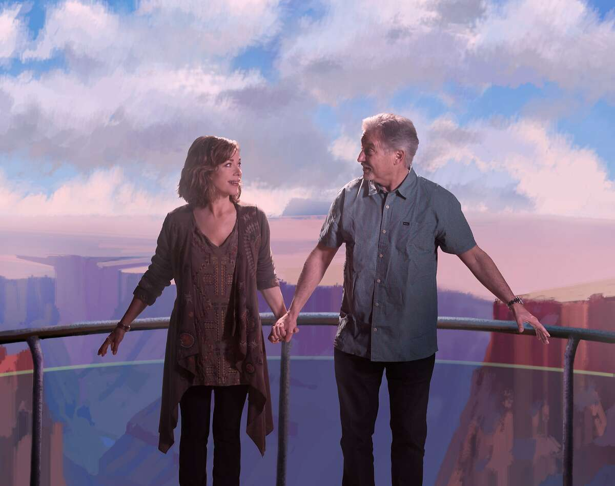 Pamela Gaye Walker and John Walker play a couple who take what may be a life-changing trip to the Grand Canyon Skywalk, in The Empty Nesters, a new play about life after kids May 6 - June 11 at Z Below.Photo credit: David Allen