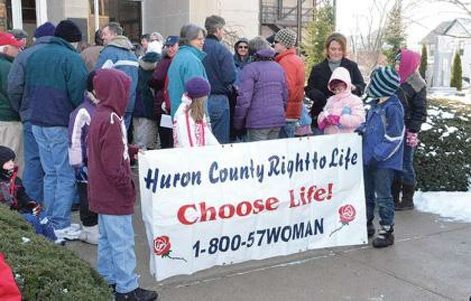 HC Right to Life supporters gather Sunday.