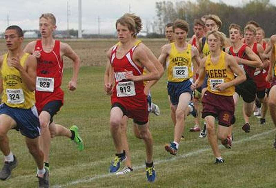 Runners are grouped together near the start of the GTC League Meet on Tuesday at EPBP. The course produced six of the top 10 times this season for the boys.