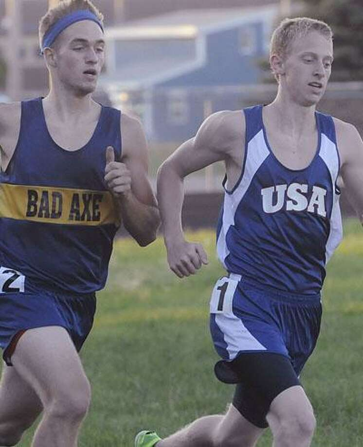 USA's Grant Harris is ahead of Bad Axe's Will Affholter in the 800.