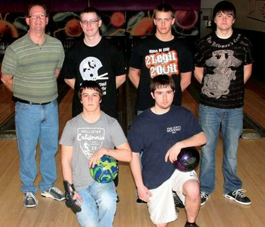 Members of the Ubly boys bowling team are (front row from left) Bryan Bland and Matthew Leppek (back row) coach Dennis West, Kyle Peplinski, Josh Kubacki and Wayne Conley.