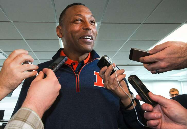 Hardy Nickerson, the University of Illinois new defensive coordinator, speaks with the media at an NCAA college football press conference where coach Lovie Smith introduced him, Tuesday, March 29, 2016,  at Memorial Stadium in Champaign, Ill. (Robin Scholz/The News-Gazette via AP)  MANDATORY CREDIT