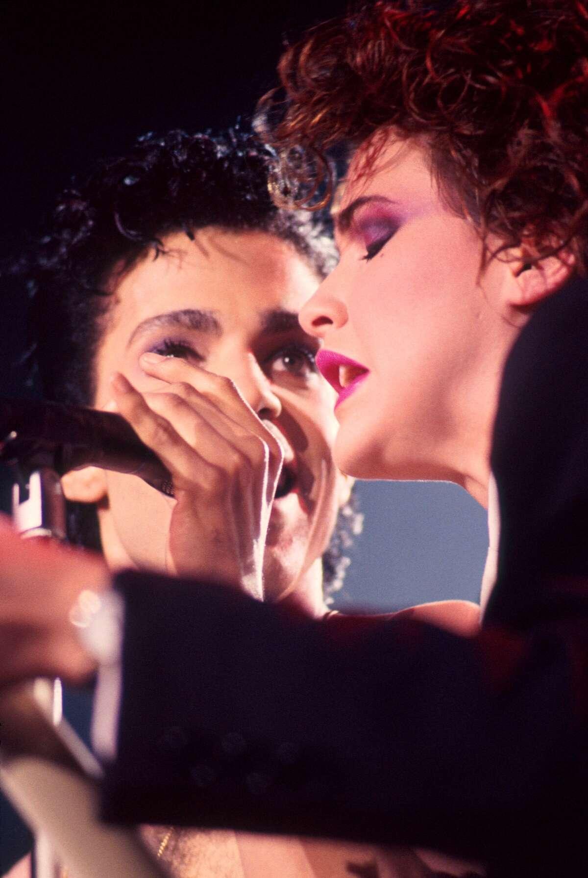 Prince and Sheena Easton perform on stage, London, 1986.