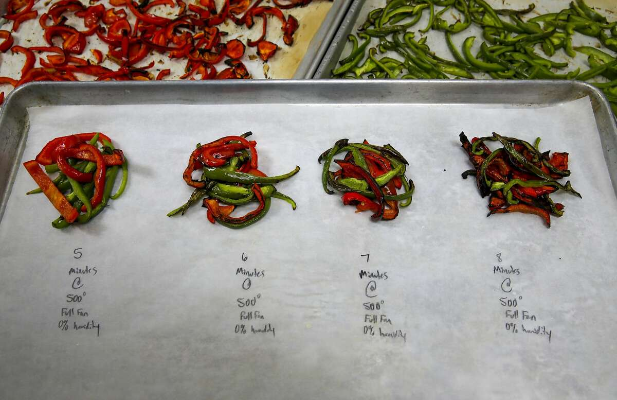 Testing bell peppers using different cook times at Sprig an on-demand food delivery service in San Francisco, California on Thurs. April 21, 2016.