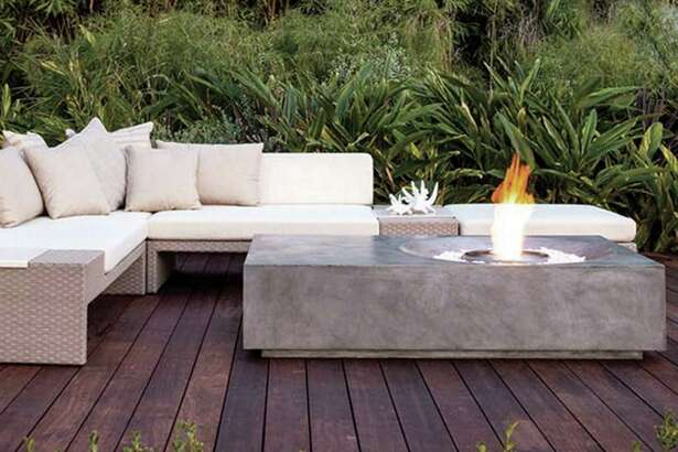 Enjoy the cozy warmth of a fire with this fire table from Brown Jordan Fires and EcoSmart.