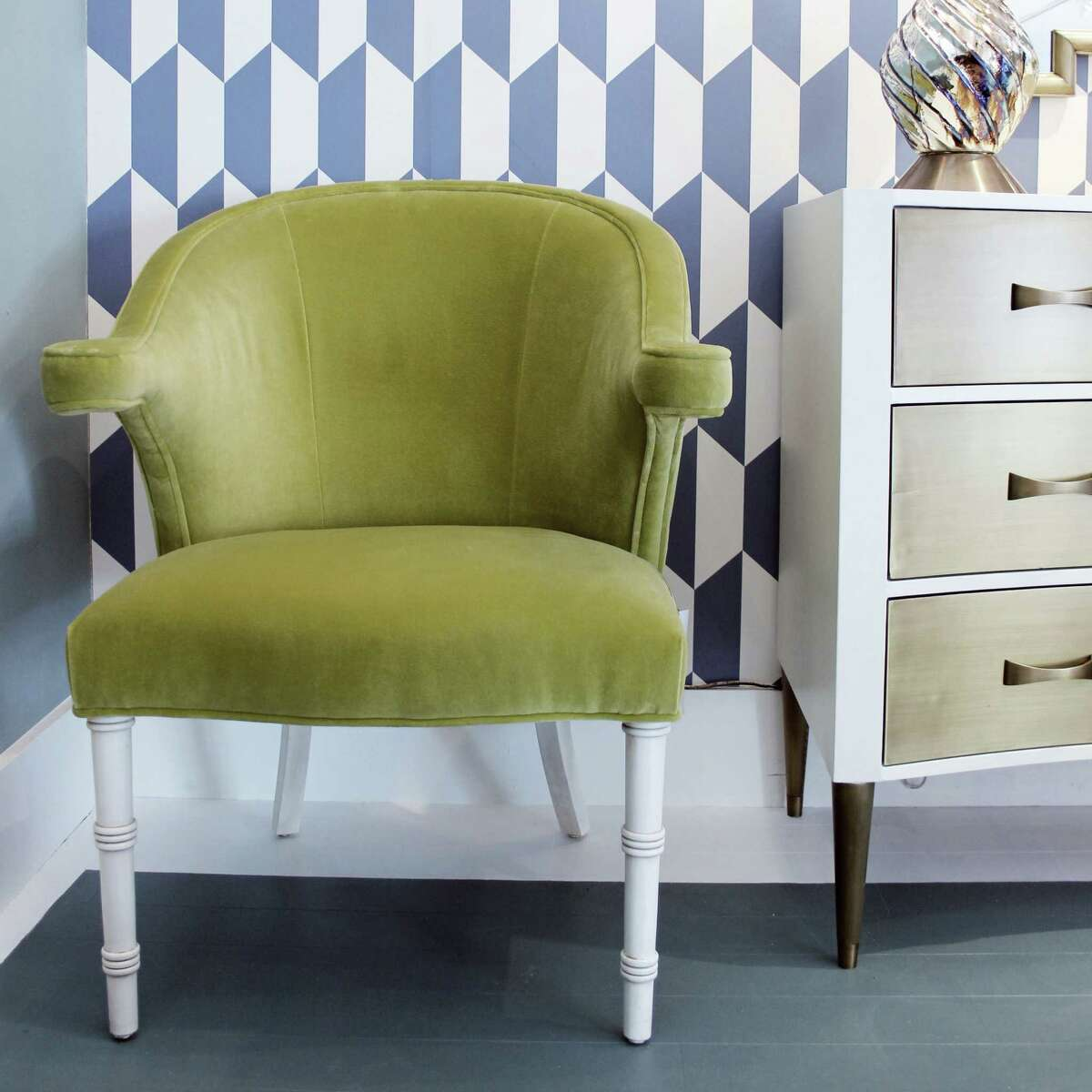 Julian Chichester made its Virginia Chair in a bold and brilliant wasabi velvet.