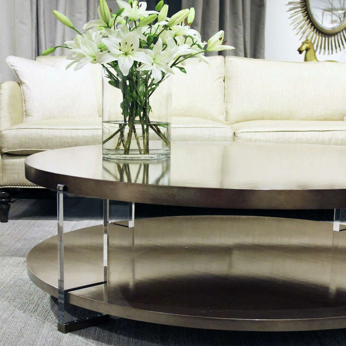 You can customize the finish on this cocktail table by Vanguard Dell Ray and bring a touch of Lucite into your home.