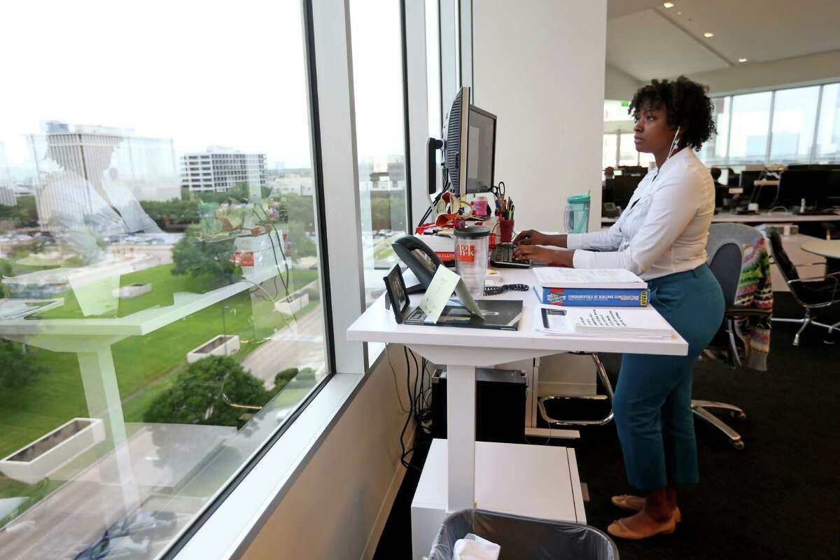 This work station is in the new offices of HOK, a global design, architecture, engineering and planning firm. The company recently left Williams Tower.
